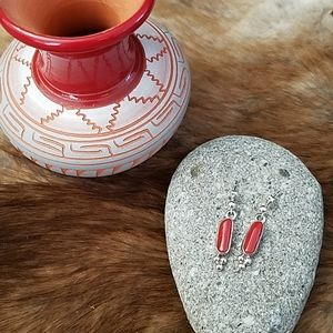 Coral and Sterling Silver Earrings